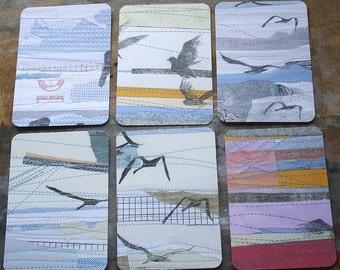Paper & Stitch Collage Postcards - Set of 6