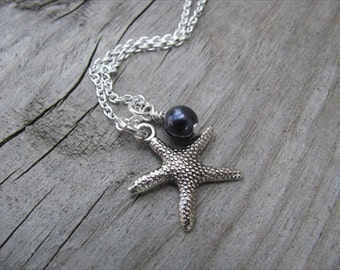 Silver Starfish Necklace- with an accent bead in your choice of colors