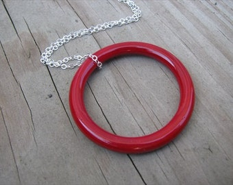 Red Circle Necklace- Simple Red Ring with Chain