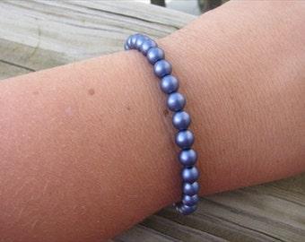 Layering Bracelet- Deep Satin Purple Beaded Bracelet