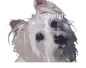 Custom Pet Portraits - Commission for P: Yorkshire Terrier and Maltese Terriers. Contemporary custom artwork of your pet dog cat puppy print