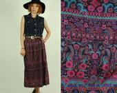 Vintage BOHO Floral - Paisley Print MAXI Skirt (L)
