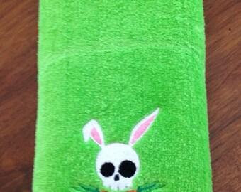 Skull Bunny Easter Hand Towel