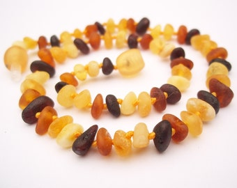 Baltic Amber Baby Teething Necklace.  Raw Unpolished  Multicolor  beads..