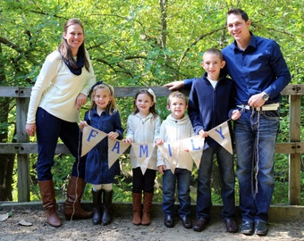 FAMILY..Burlap Banner Bunting Pennant Garland ..We Do Custom Banners..Your color choice..