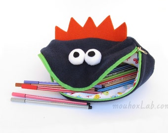 Back to school, Monster toy bag, Handmade funny fabric pouch, Kids art storage - MADE TO ORDER