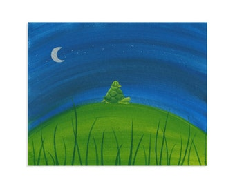 """Turtle Forest Print - """"Night Turtles"""" - Turtle & Baby"""