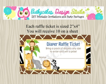 Diaper Raflle Ticket Jungle Animals - DIY Print Your Own