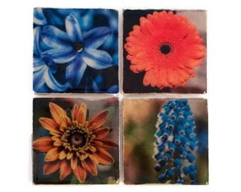 Flower Coaster Set (4 Stone Coasters) Nature Home Decor, Floral Art Gift Set - Mother's Day Gift