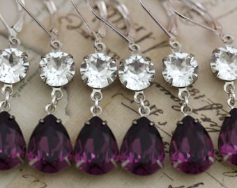 Purple Wedding Purple Bridesmaid Earrings Set of 7 Pairs Bridal Party Amethyst Jewelry Swarovski Crystal Also Avail As Clip On Earrings