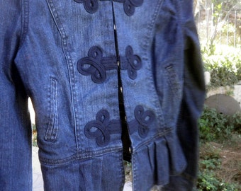 Military style DENIM jacket, small Women, teens, size 10