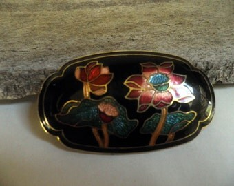 Gorgeous Cloisonne enameled Belt Buckle, Bolo slide