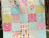 Kumari Garden Baby Quilt, Big Block, Girl Crib Bedding, Kids Child Blanket, Dena Designs, Pink Aqua Yellow, Paisley Flowers
