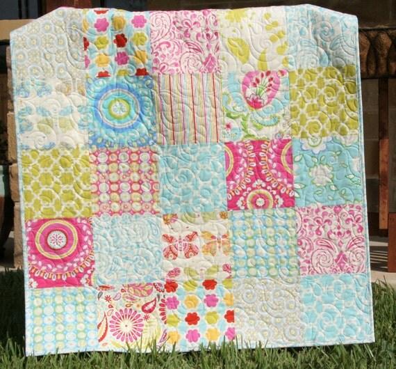 Sale Kumari Garden Baby Quilt Big Block Girl Crib Bedding