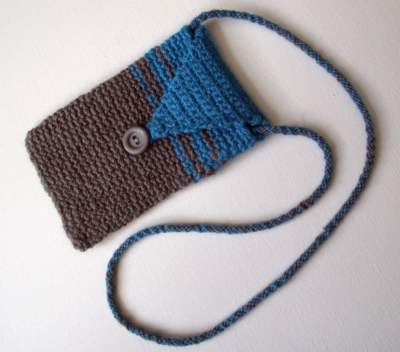 Crochet Cell Phone Purse : Phone Pouch iPhone Sleeve Crochet Cell Phone Purse Handspun Crochet ...