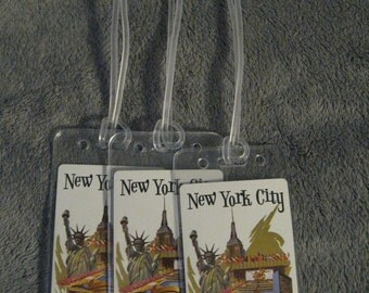 Delta Airlines DL DAL New York City Vintage Playing Cards Re-Purposed Luggage Baggage Tags Set (3)