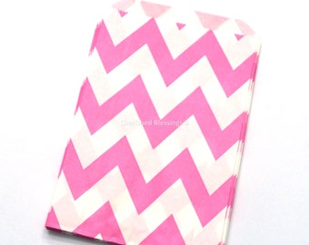 Chevron Paper Favor Bags, Chevron Favor Bags,  Hot Pink Favor Bags Party Wedding Candy Buffet Baby Shower Paper Goods Clearance Sale