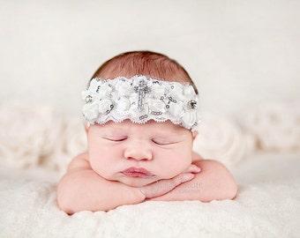 Christening headband, Baby headband, newborn headband, baptism, adult headband, photo prop, christening baby- CROSS sparkles lace headband
