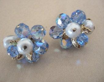 Vintage VENDOME Cluster Earrings - Vendome Faux Pearl & Blue Ab Crystal Bead Earrings
