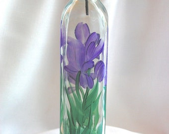 Hand painted Oil and Vinegar Bottle - purple iris