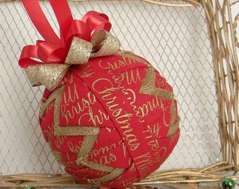 Quilted Ornament Red Gold Christmas Ornament Decoration