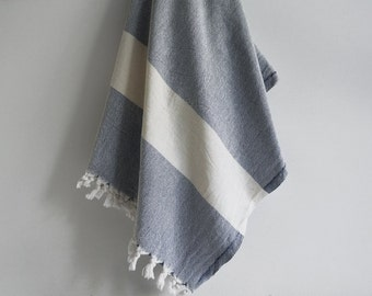 Bathstyle Turkish BATH Towel Peshtemal - SOFT - Navy Blue Color - Wedding Gift, Beach, Spa, Swim, Pool Towels and Pareo