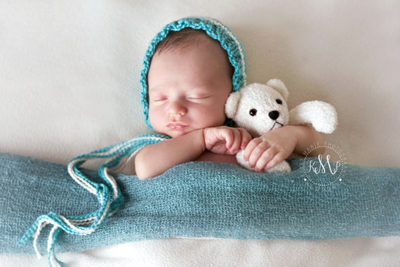 Newborn Photo Prop | Striped Baby Bonnet | Newborn Knit Baby Bonnet | Teal Baby Bonnet | Newborn Purple Bonnet
