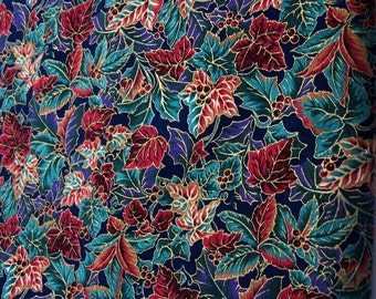 Multicolored Leaves and Berries Outlined in Gold Holiday Fabric 114