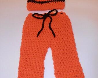 crochet halloween baby pants and hat set, newborn, photo prop
