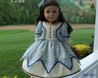 "PDF Sewing Pattern for American Girl® Doll / Historical Blue Lobelia Gown/  Sewing Pattern for 18"" Dolls"