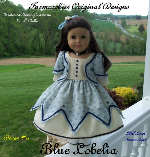 "PDF Sewing Pattern Fits American Girl® Doll / Historical Blue Lobelia Gown/  Sewing Pattern for 18"" Dolls"