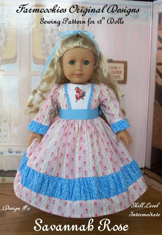 """PRINTED Sewing Pattern Historical Savannah Rose / Sewing Patterns for American Girl or other 18"""" Dolls"""