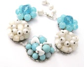 Upcycled Bracelet of Vintage Cluster Earrings, Aqua and Cream Beads, One of a Kind