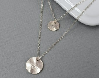 Layered Long Disc Necklace SILVER, Personalized Two Initials Layered Necklace, Personalized Jewelry, Gifts for Her, Family