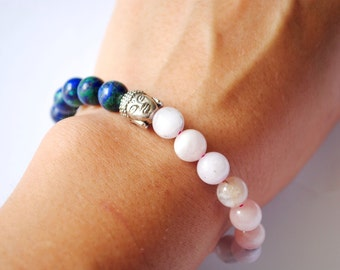 Great Combination Bracelet with Kunzite & Azurite Stones A+