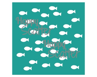 """Fish Stencil, Seaside Smiles Shoal of Fishes 6x6"""" Stencil, Fishes Stencil, Random Pattern Stencil, 6x6 Stencil, Mixed Media Stencil"""