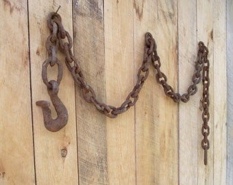 Large Antique Chain , Hand Forged Logging Chain and Hook , Rusty Primitive , Industrial Decor , Rustic Beach House Decor
