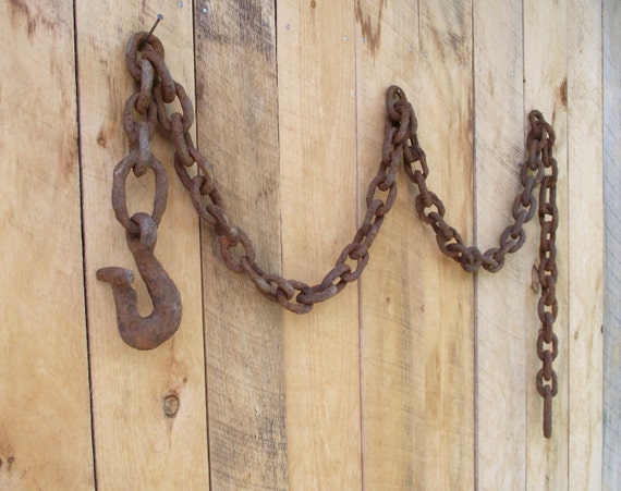Antique Hand Forged Chain : Large antique chain hand forged logging and hook