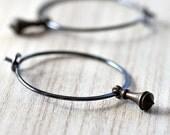 Hoop Earrings, Brass Pendulum Oxidized Sterling Silver Hoops Boho Women's Jewelry - Clockwork