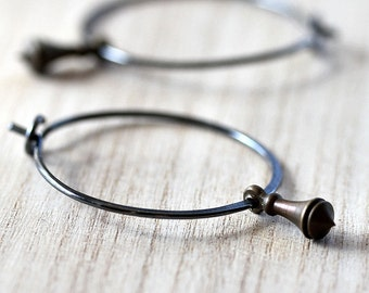 Hoop Earrings, Brass Pendulum Oxidized Sterling Silver Hoops Boho Women's Jewelry - Clockwork