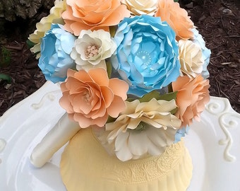 Paper Flower Bouquet - Wedding Bouquet - Bridal Bouquet - Peach and Blue - Customize Your Colors - Made To Order