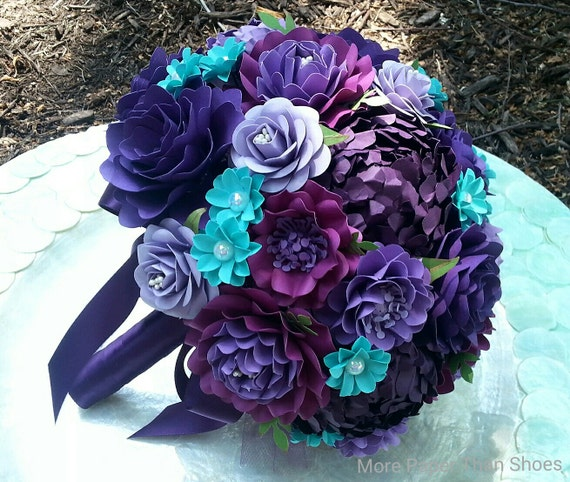 Handmade Paper Bouquet - Paper Flower Bouquet - Wedding Bouquet - Shades of Purple with Aqua - Custom Made - Any Color