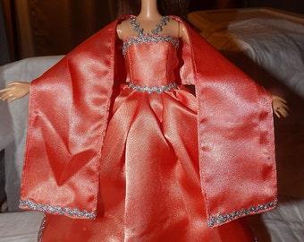 Peach Satin formal dress & shall for Fashion Dolls - ed642