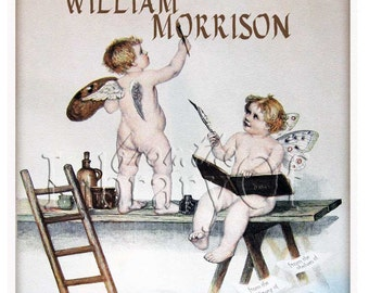 Sign Painters - cherub - fairy - ADHESIVE - Personalized Vintage Bookplate - Perfect for Anyone