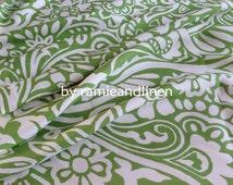 "Silk fabric, vintage style floral scrolls print jacquard silk fabric, dress fabric, one yard by 44"" wide"