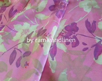 "Silk fabric, vintage style floral print silk crepe de chine fabric, pure silk fabric, dress fabric, half yard by 44"" wide"