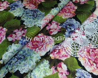 "silk fabric, digital printed hydrangea floral silk cotton blend fabric, half yard by 52"" wide"