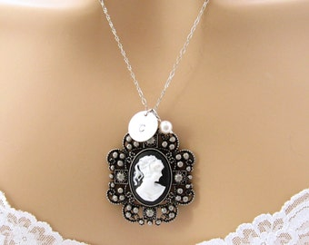 Personalized Black Cameo Necklace, Downton Abbey Bridesmaid Jewelry, Personalized Victorian Cameo Necklace, Downton Abbey Wedding Jewelry
