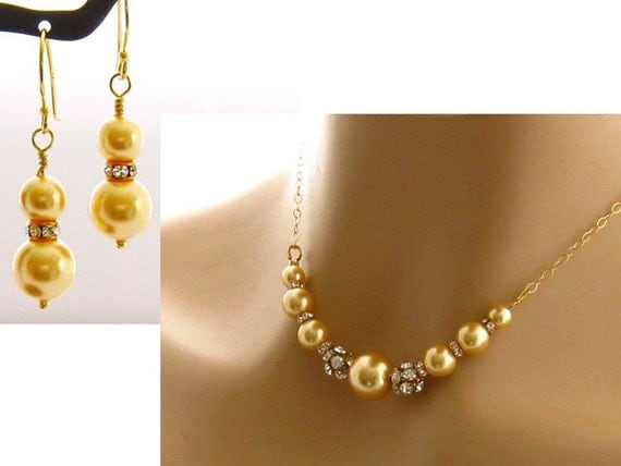 Yellow Jewelry Set Pearl Rhinestone Bridal Necklace Earrings