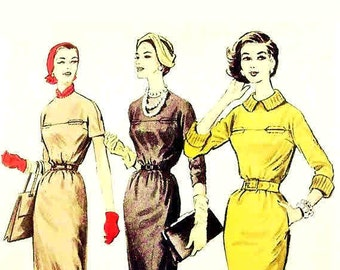 Vintage 1950s Dress Pattern Bust 32 Size 12 Advance 8471 Move Those Hips
